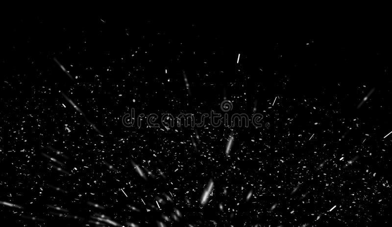 Le feu volant de braise al?atoire du feu suscite des particules d'isolement sur le fond noir pour la conception recouverte illustration libre de droits