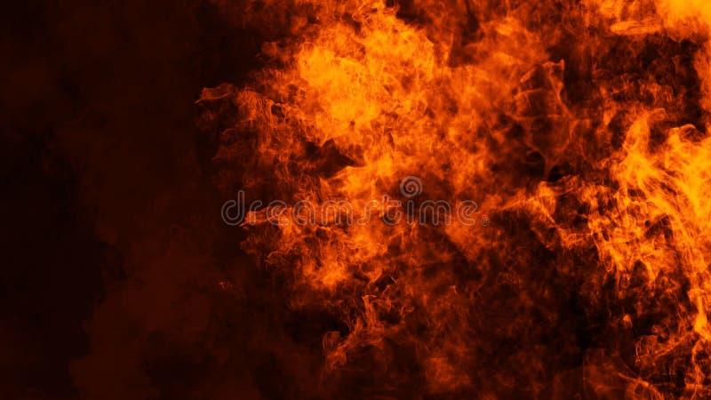 Le fiamme del fuoco strutturano su fondo nero isolato Sovrapposizioni perfette di struttura per lo spazio della copia Elemento di fotografia stock libera da diritti