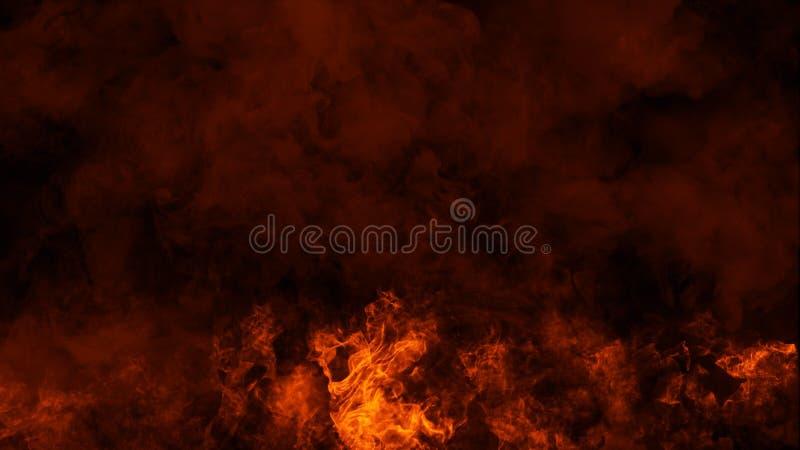 Le fiamme del fuoco strutturano su fondo nero isolato Sovrapposizioni perfette di struttura per lo spazio della copia Elemento di immagine stock