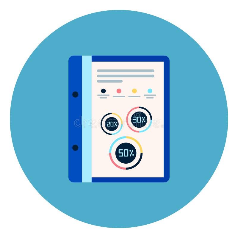 Le fichier document avec le rapport Diagrams l'icône sur le fond rond bleu illustration libre de droits