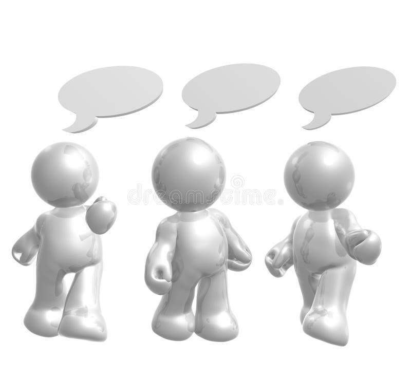 Le figure dell'icona godono di di chiacchierare con gli aerostati comici illustrazione vettoriale