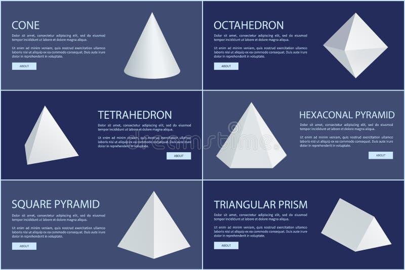 Le figure dell'ottaedro e del cono, Vector i prismi bianchi illustrazione di stock
