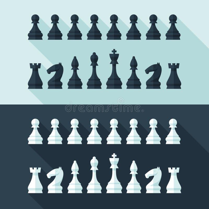 Le figure di scacchi hanno messo nello stile moderno piano per il concetto di progetto illustrazione vettoriale
