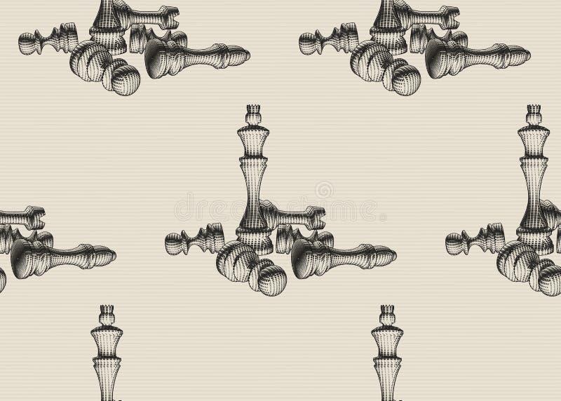 Le figure di scacchi si trovano intorno alla regina su fondo a strisce Raccolta della regina, vescovo, corvo, modello senza cucit illustrazione di stock
