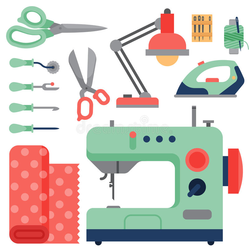 Le fil fournit des accessoires cousant l'équipement travaillant l'illustration de vecteur de couture de métier de goupille de mod illustration libre de droits