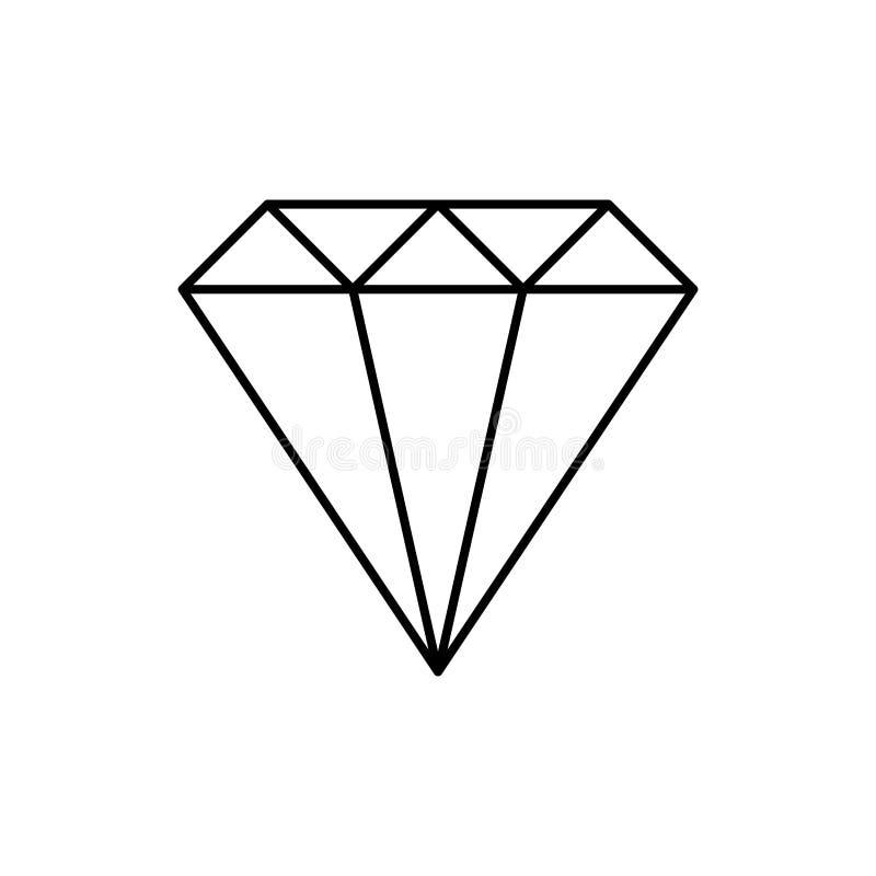 Le fil simple a encadré le logo noir et blanc en cristal de diamant, vecteur illustration stock