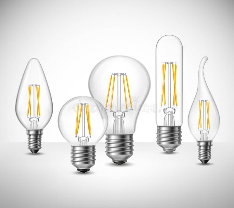 Le filament a mené l'ensemble réaliste d'ampoules illustration libre de droits