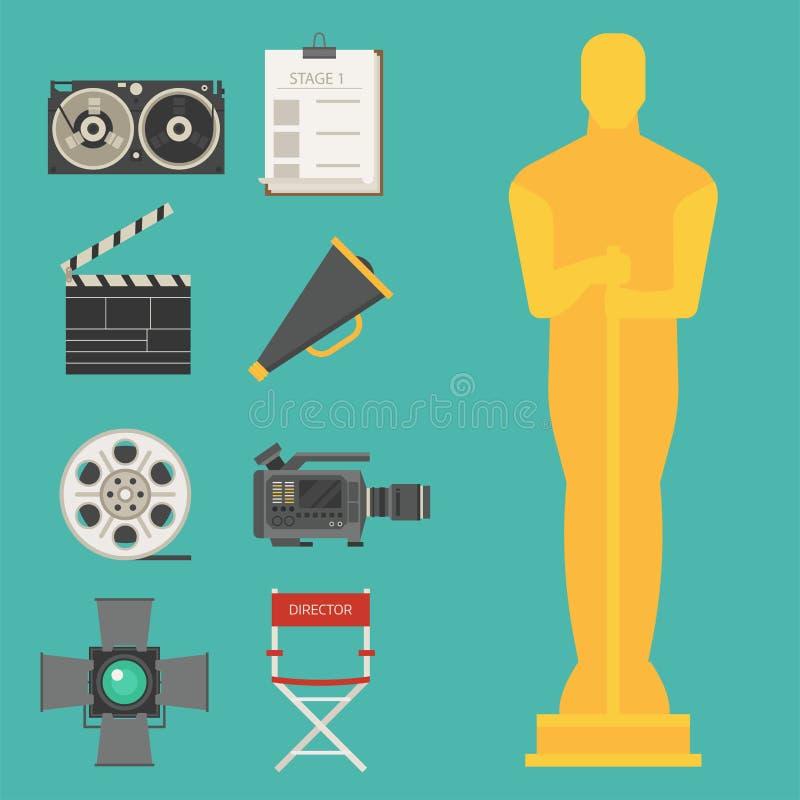 Le film de cinéma faisant l'exposition de TV usine l'illustration de cinématographie de vecteur d'icônes de symboles d'équipement illustration stock