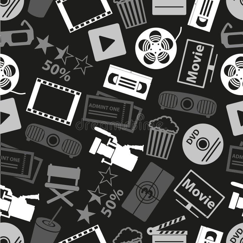 Le film et le cinéma dirigent le modèle foncé sans couture eps10 d'icônes illustration de vecteur