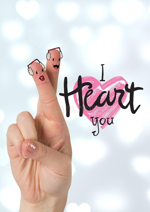 Le fingret koppla ihop med I-hjärta dig meddelandet arkivbild