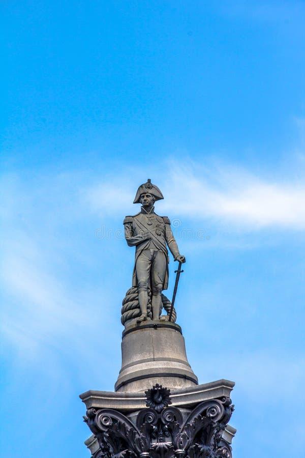 Le fléau du Nelson dans le grand dos de Trafalgar, Londres photos libres de droits