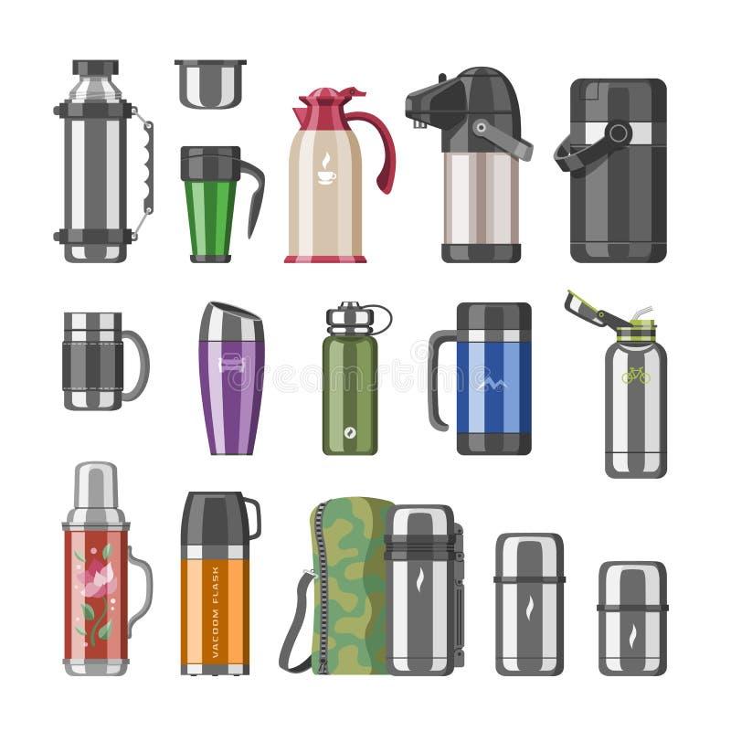 Le flacon de vide de vecteur de thermos ou la bouteille inoxydable avec l'ensemble chaud d'illustration de café ou de thé de bois illustration de vecteur