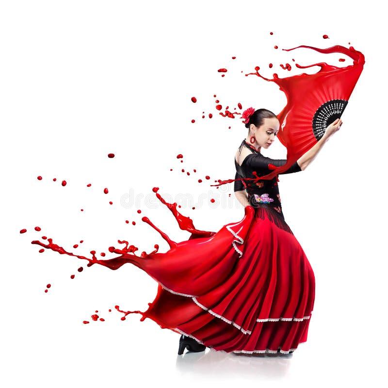 Le flamenco de danse de jeune femme avec la peinture éclabousse d'isolement sur le petit morceau photos stock