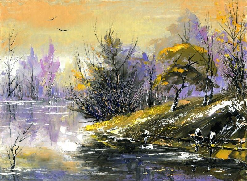 Le fleuve en bois sur un déclin illustration stock