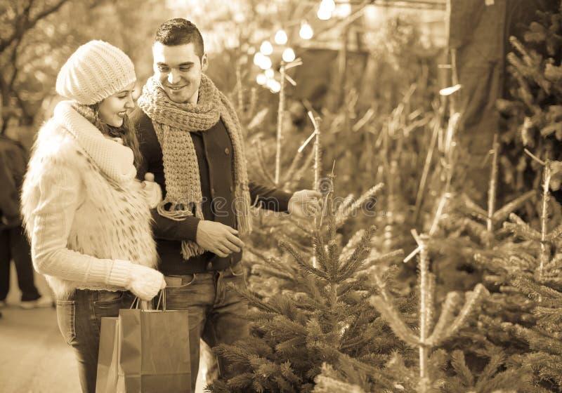 Le flickan med pojkvännen på denträd marknaden arkivfoto