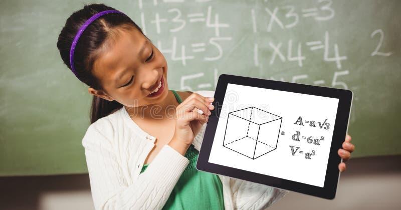 Le flickan som ser formel i digital minnestavla royaltyfri illustrationer