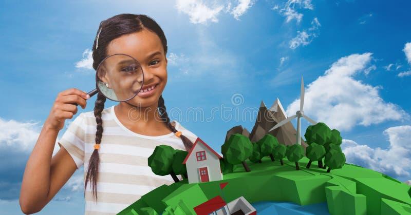 Le flickan som ser till och med förstoringsglaset vid låg poly jord royaltyfri fotografi