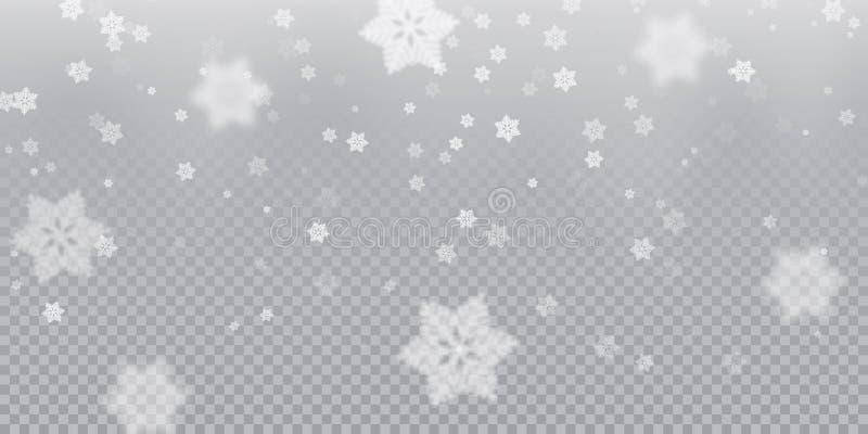 Le flocon de neige en baisse modèlent le fond de la texture froide blanche de recouvrement de chutes de neige sur le fond transpa illustration libre de droits