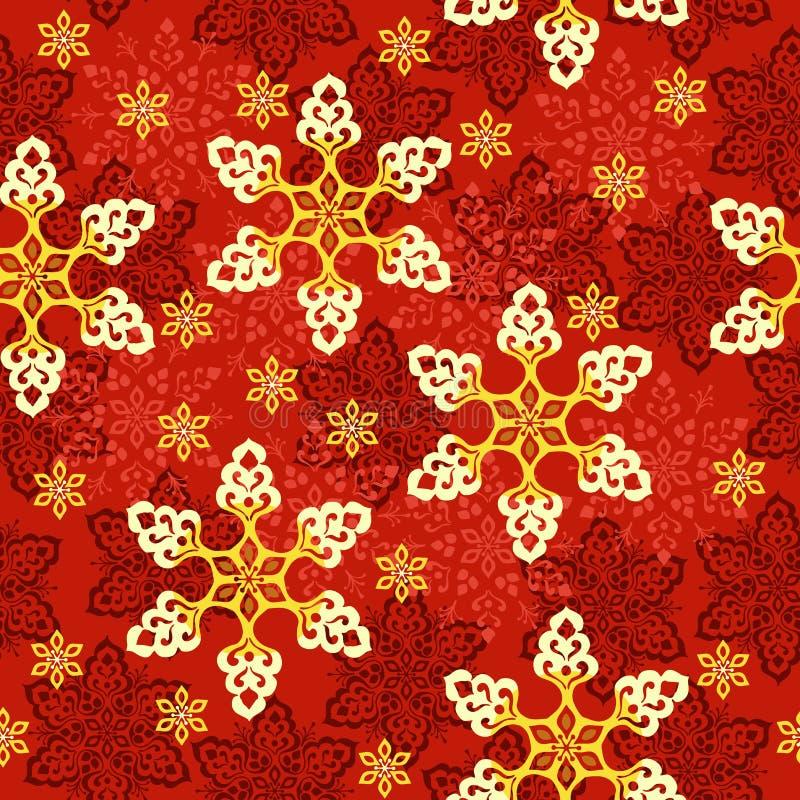 Le flocon de neige ou le pain d'épice décorent pour le fond sans couture de vecteur de modèle d'hiver ou de festival de Noël illustration de vecteur