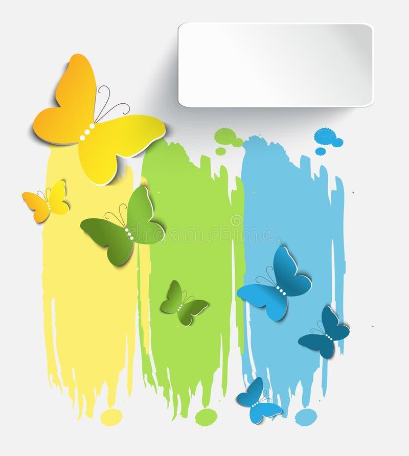 Le ` floral abstrait s de bannière a placé avec des papillons illustration libre de droits