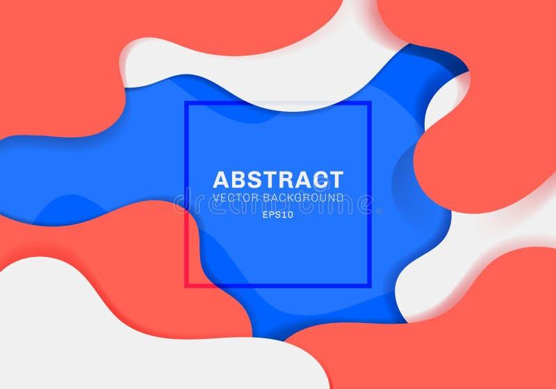 Le fluide 3D dynamique abstrait forme le fond vibrant de couleur de concept moderne éléments bleus, blancs et rouges avec le liqu illustration stock