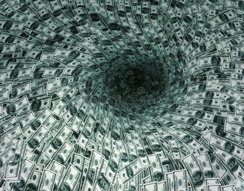 Le flux du dollar en trou noir illustration libre de droits