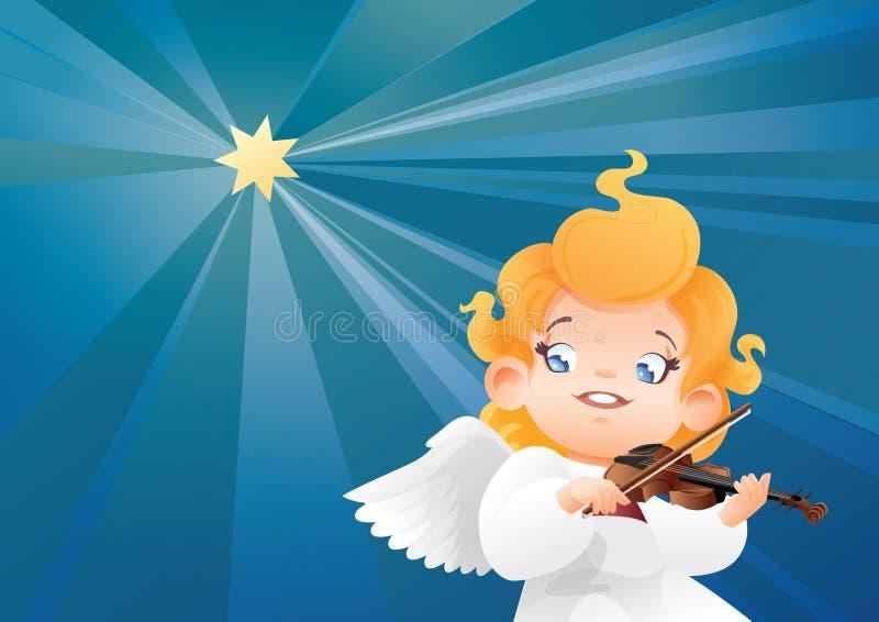 Le flyg på en violinist för musiker för ängel för unge för natthimmel spela stock illustrationer