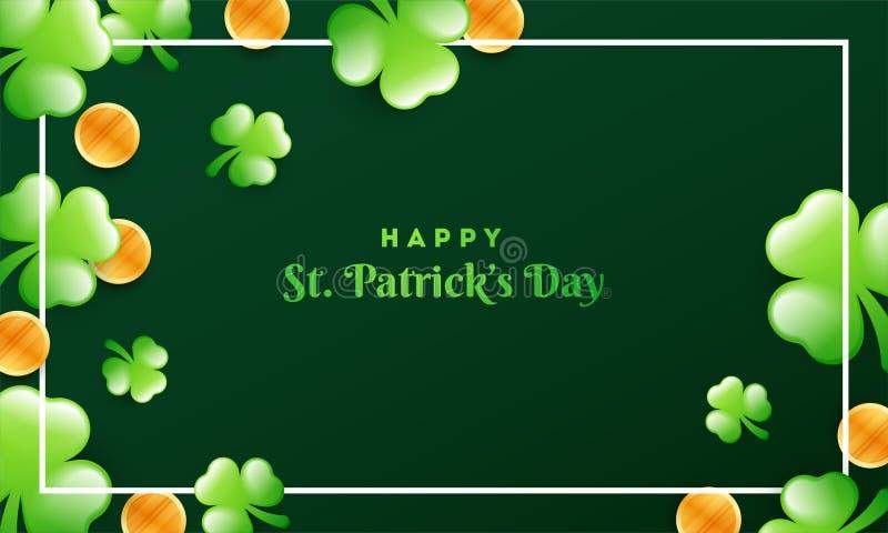 Le foglie dell'acetosella e le monete di oro lucide hanno decorato il fondo verde per il giorno di St Patrick felice illustrazione vettoriale