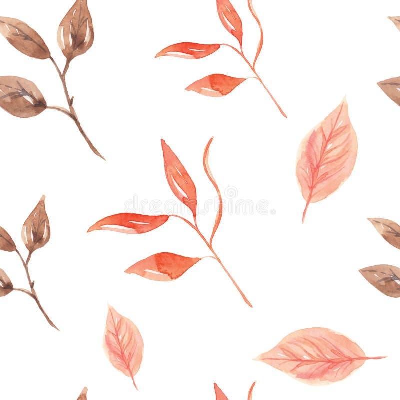 Le foglie dell'acquerello hanno dipinto il modello senza cuciture Autumn Fall illustrazione vettoriale