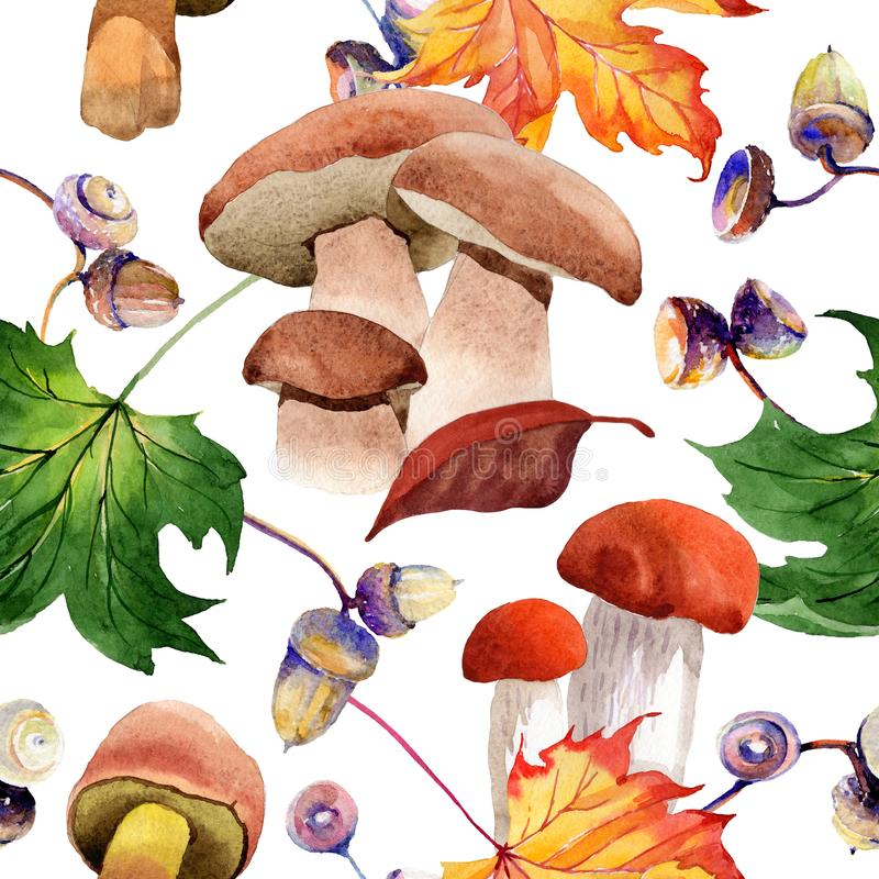 Le foglie di acero modellano in uno stile dell'acquerello illustrazione di stock