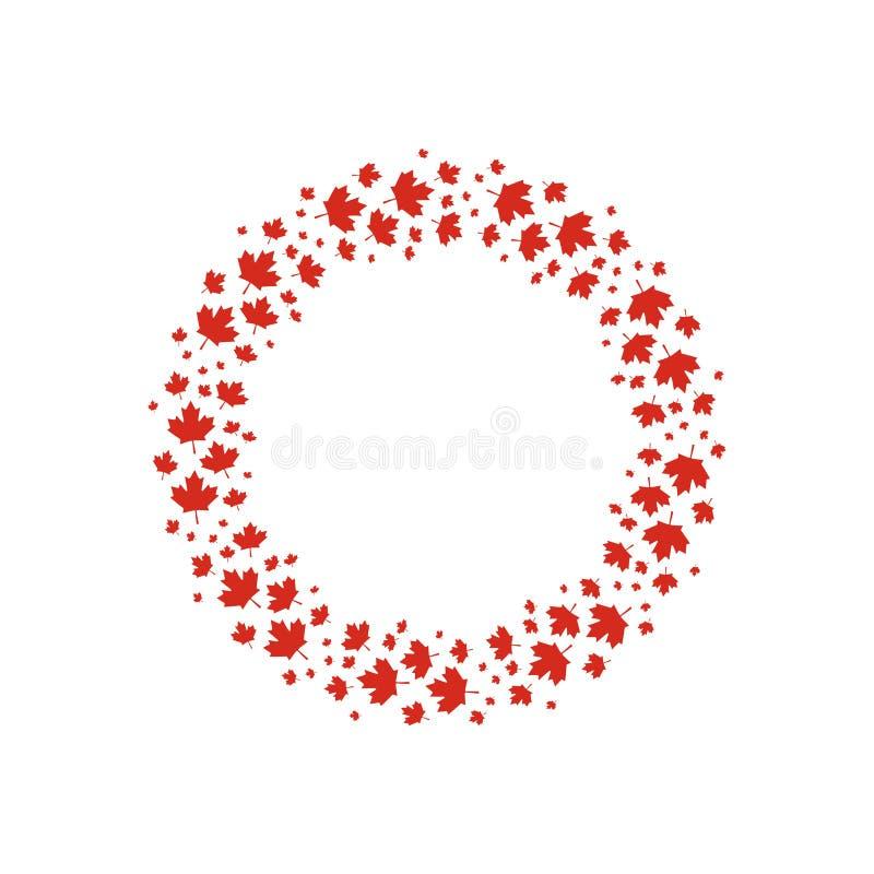 Le foglie di acero rosse di vettore si avvolgono per progettazione del giorno del Canada royalty illustrazione gratis