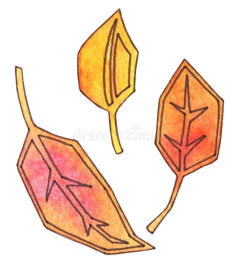 Le foglie di autunno sono gialle ed arancio Acquerello del disegno della mano con il profilo Tempo di raccolta foglio digitale di illustrazione vettoriale