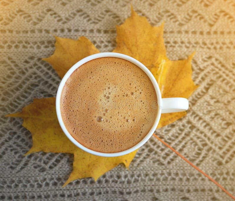 Le foglie di giallo dell'acero della bevanda della tazza di caffè hanno tonificato la luce solare fotografie stock libere da diritti