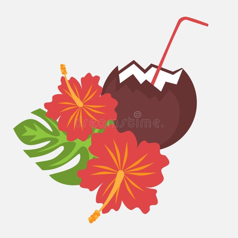 Le foglie di palma ed il fiore tropicali Hawai dell'ibisco dei fiori con la noce di cocco bevono, fondo esotico del fiore dell'es illustrazione di stock