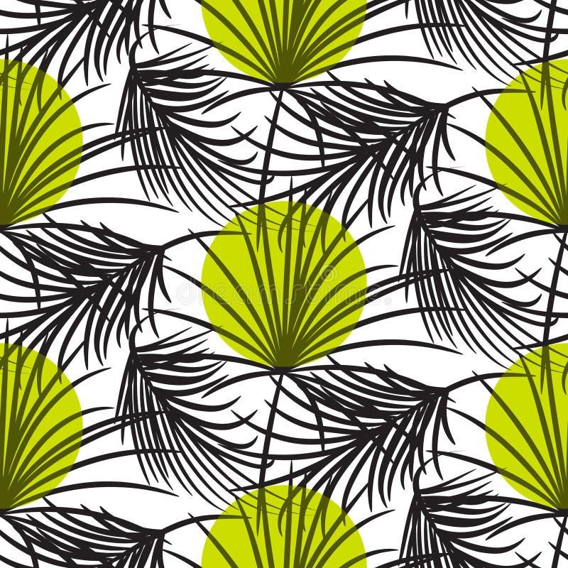 Le foglie di palma grige con verde punteggia il modello senza cuciture di vettore illustrazione vettoriale