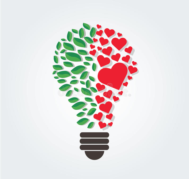 Le foglie ed i cuori verdi in lampadina modellano, concetto di eco, il simbolo di pensiero, Giornata mondiale dell'ambiente royalty illustrazione gratis