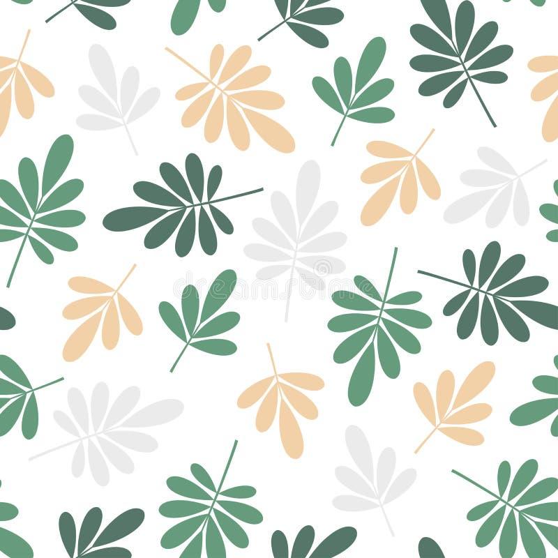 Le foglie naturali verdi e gialle graficamente stilizzate luminose senza cuciture modellano l'elemento di struttura su fondo bian illustrazione vettoriale
