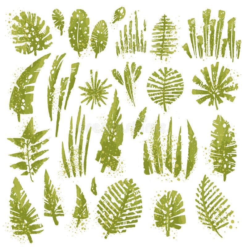 Le foglie strutturate tropicali messe con l'acquerello espressivo spruzza e la struttura di lerciume Raccolta isolata degli eleme royalty illustrazione gratis