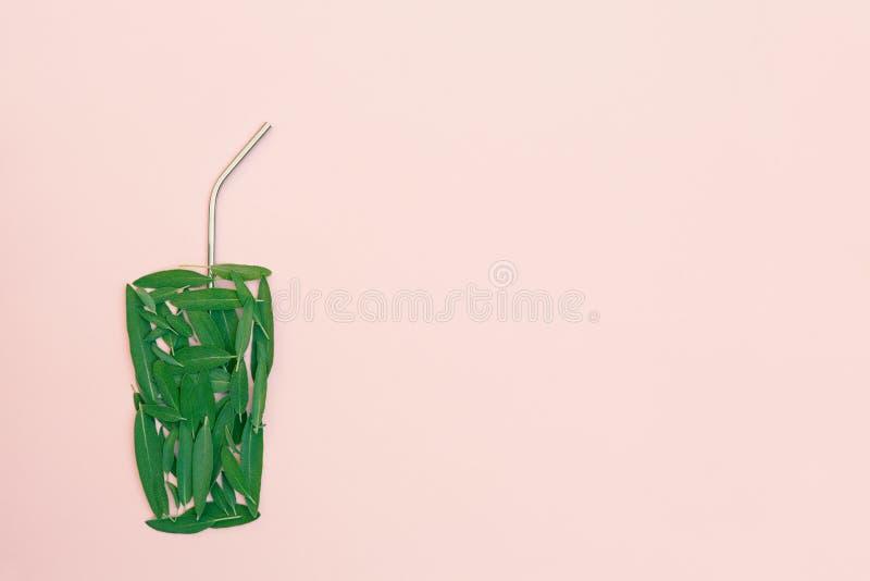 Le foglie verdi hanno sistemato come vetro con la paglia sana del metallo e del frullato su fondo rosa fotografia stock