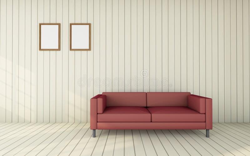 Le fonctionnement et le salon/3D rendent le vintage de luxe d'image illustration libre de droits