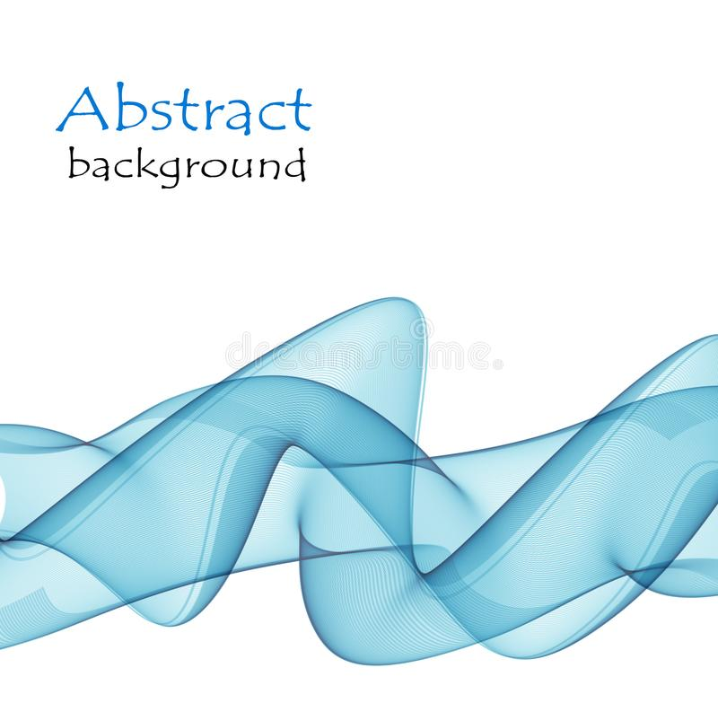 Le fond abstrait avec le bleu ondule sur un fond blanc illustration libre de droits