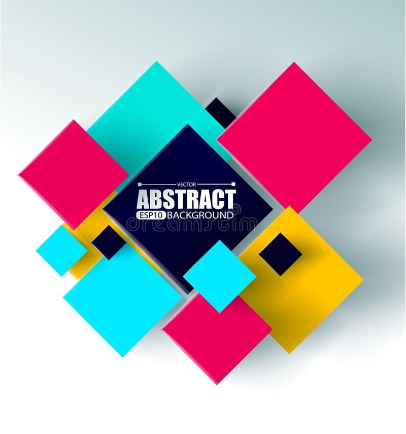 Le fond abstrait avec les cubes 3d et les places dirigent l'illustration illustration de vecteur