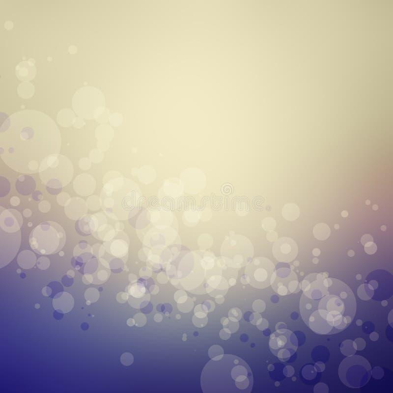 Le fond abstrait de bokeh dans des couleurs bleues et beiges pourpres avec le cercle forme illustration de vecteur