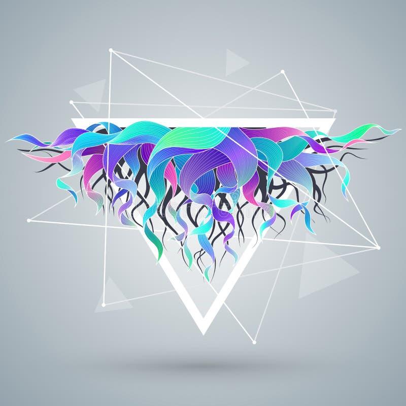 Le fond abstrait de vecteur avec la triangle et la couleur ondulent illustration de vecteur