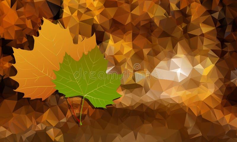 Le fond abstrait est bas poly avec des feuilles d'automne Vecteur illustration stock