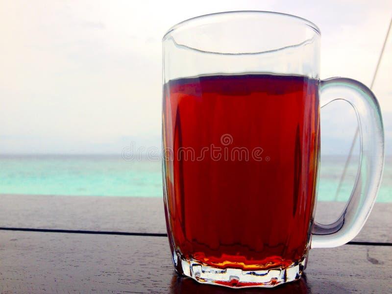 Le fond abstrait a isolé la tasse en verre régénérant des vacances tropicales d'île de thé noir images libres de droits