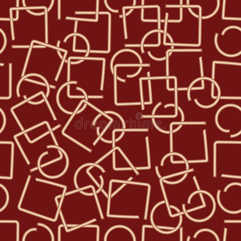 Le fond abstrait moderne avec le fil en laiton a rompu des éléments dans la forme de place et de cercle sur le secteur rouge fonc illustration de vecteur