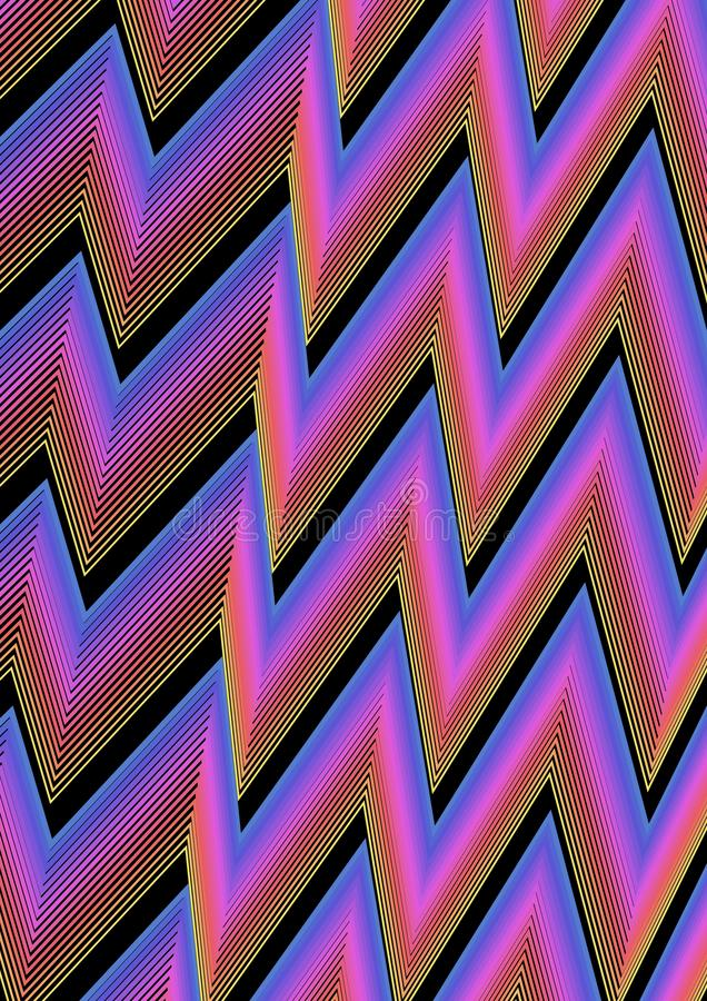 Le fond abstrait moderne avec le zig-zag raye dans bleu, rose et noir Combinaison de couleur vibrante illustration libre de droits