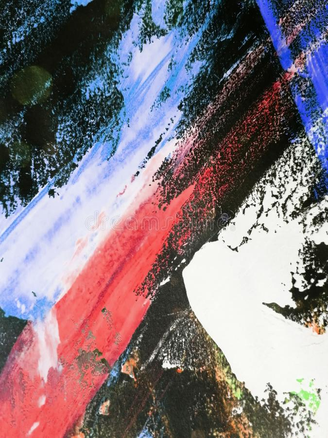 Le fond abstrait, textures peintes à la main, gouache, aquarelle, éclabousse, chute de la peinture, courses de peinture Conceptio image libre de droits