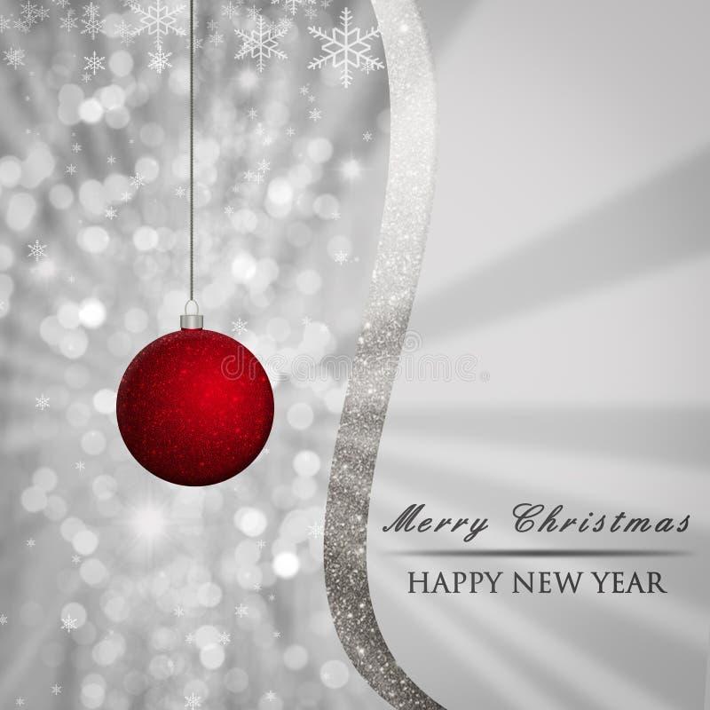 Le fond argenté de Noël avec le rouge, babiole de scintillement, bokeh s'allume, des flocons de neige, texte illustration stock